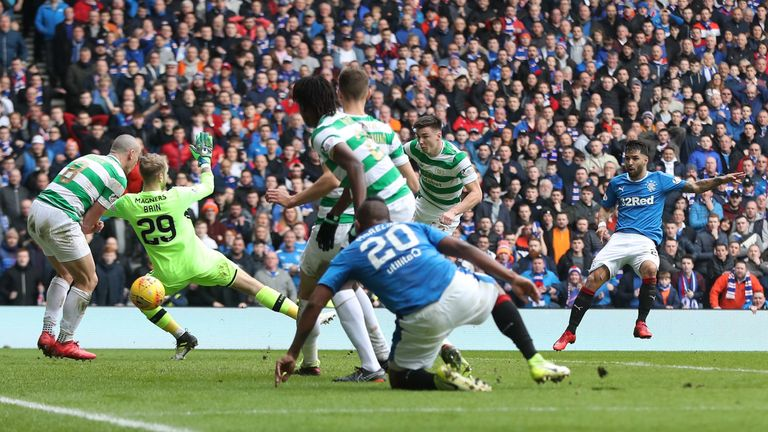 Daniel Candeias fires Rangers back in front during a breathless first half
