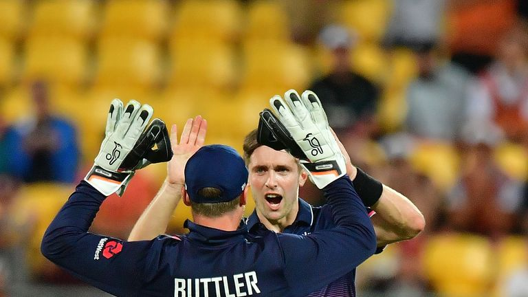 Chris Woakes held his nerve in the final over to bowl England to victory