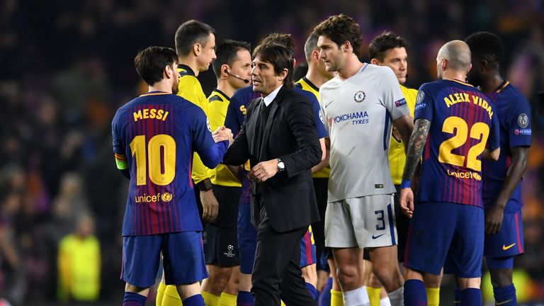 during the UEFA Champions League Round of 16 Second Leg match FC Barcelona and Chelsea FC at Camp Nou on March 14, 2018 in Barcelona, Spain.
