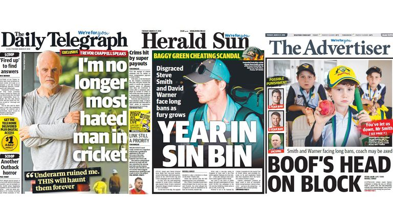Some of the headlines from Tuesday's papers in Australia