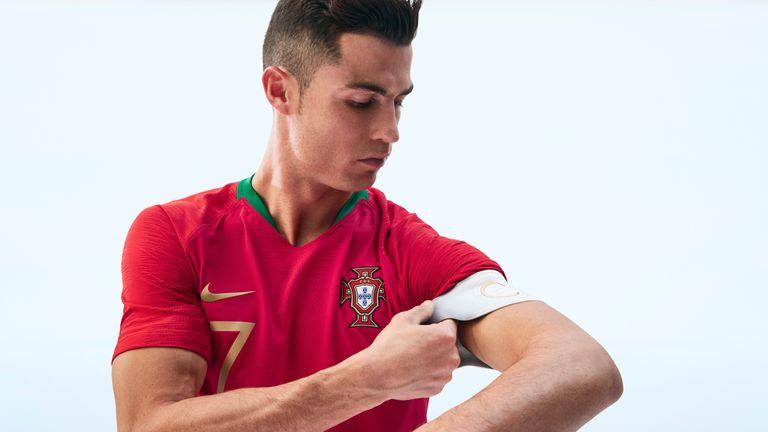 Cristiano Ronaldo models Portugal s home kit for Russia 2018. c29790f2f