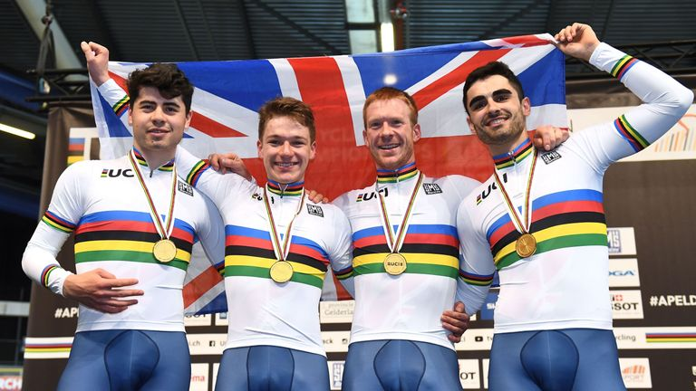 Charlie Tanfield, Ethan Hayter, and Kian Emadi won the men's Team Pursuit at the World Championships, alongside Ed Clancy