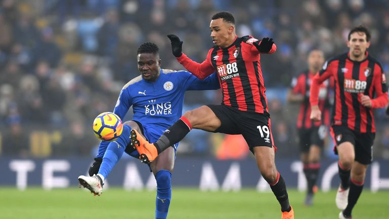 Daniel Amartey (left) and Junior Stanislas battle for possession at the King Power Stadium
