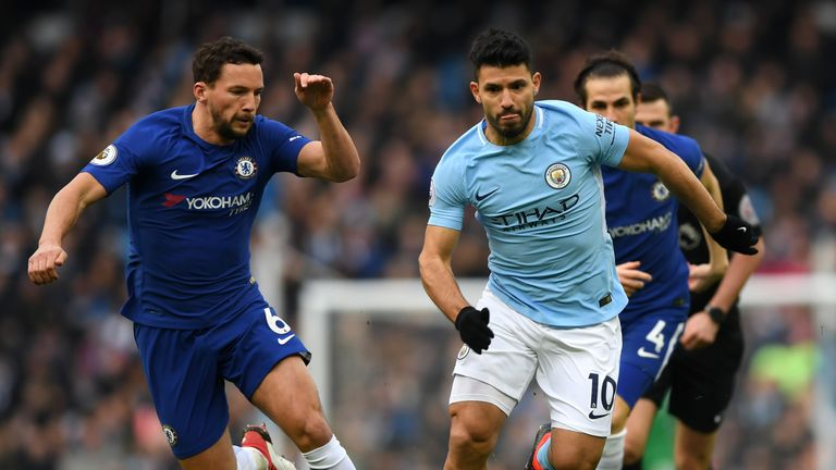 Danny Drinkwater chases down Sergio Aguero as Manchester City host Chelsea at the Etihad Stadium