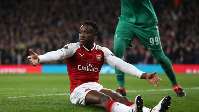 Arsenal's Danny Welbeck appeals for a penalty during the UEFA Europa League round of 16, second leg match at the Emirates Stadium, London.