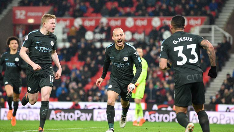 David Silva celebrates scoring Manchester City's second goal against Stoke