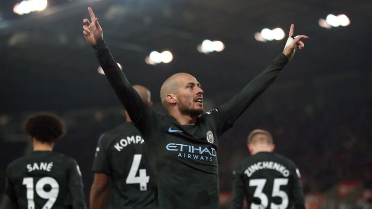 Silva celebrates his second goal of the game at the bet365 Stadium