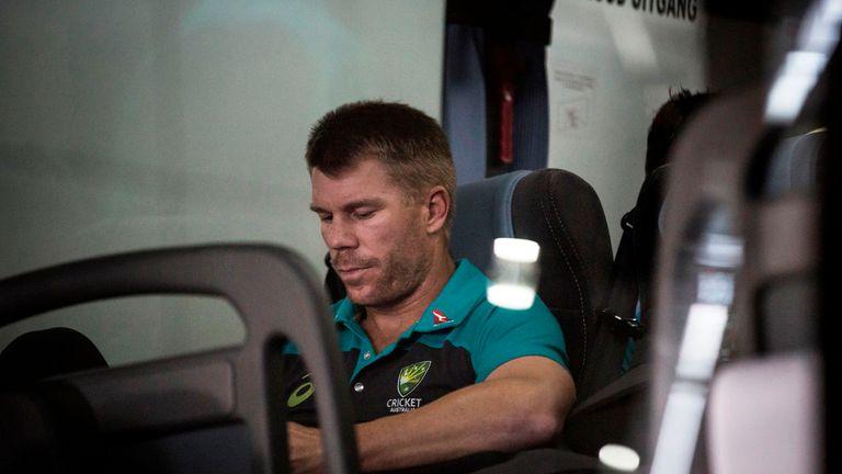 David Warner is seen on the Australian Cricket team bus as they arrive in Johannesburg