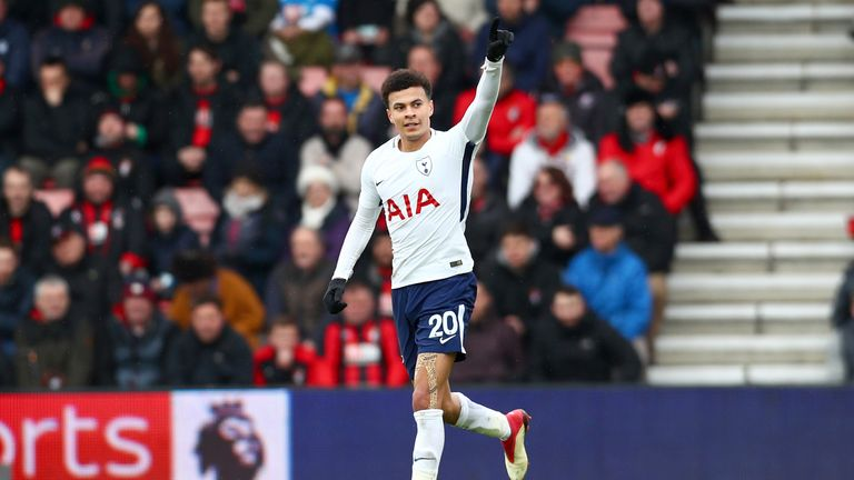 Dele Alli celebrates after equalising for Tottenham at Bournemouth