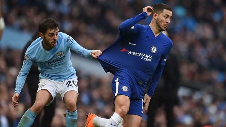 Eden Hazard has his shirt pulled by Bernardo Silva during Chelsea's 1-0 defeat at Manchester City, March 4, 2018