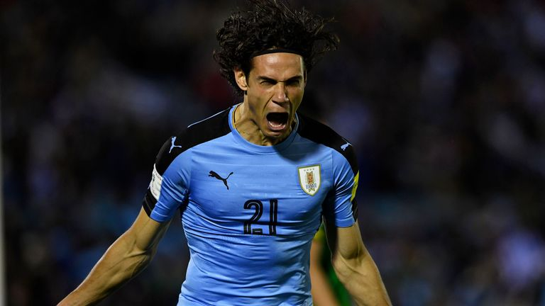 Uruguay's Edinson Cavani celebrates after scoring against Bolivia during their 2018 World Cup football qualifier match in Montevideo, on October 10, 2017