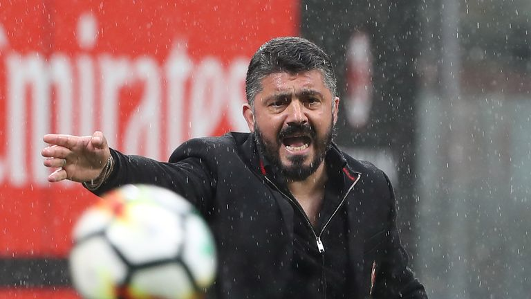 Gennaro Gattuso during the serie A match between AC Milan and AC Chievo Verona at Stadio Giuseppe Meazza on March 18, 2018 in Milan, Italy.