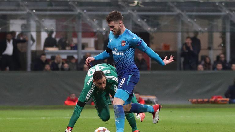 Aaron Ramsey rounded Gianluigi Donnarumma to put Arsenal 2-0 up before the break