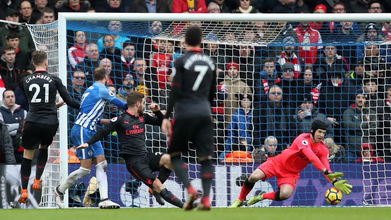 Glenn Murray's header squeezed under Petr Cech to hand Brighton a 2-0 lead against Arsenal