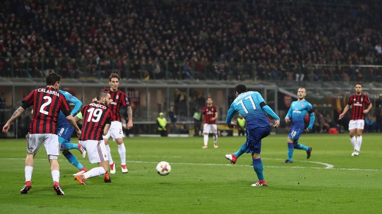 Henrikh Mkhitaryan scored his first goal for Arsenal to put the Gunners 1-0 up at the San Siro