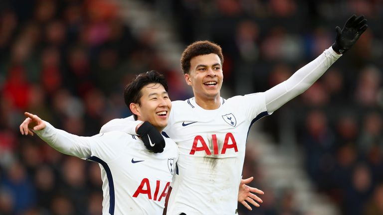 Dele Alli and Heung-Min Son celebrate Tottenham's second goal against Bournemouth