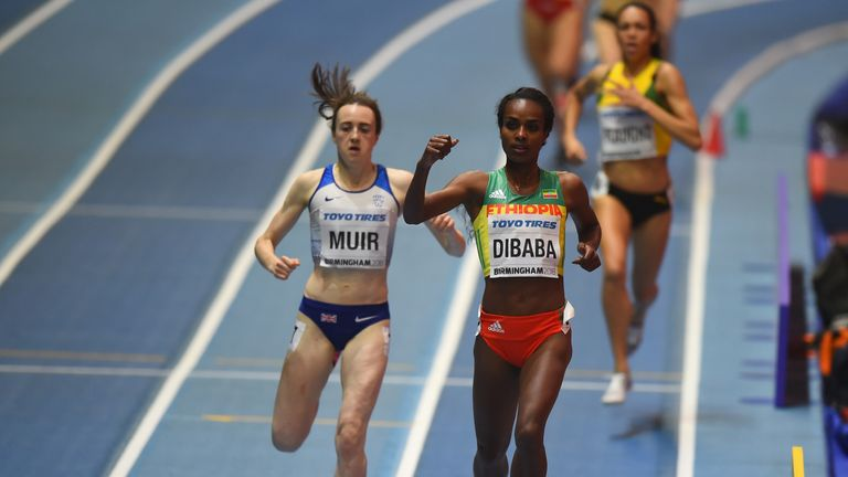 GB's Laura Muir takes silver behind Ethiopia's Genzebe Dibaba at the World Indoor Championship