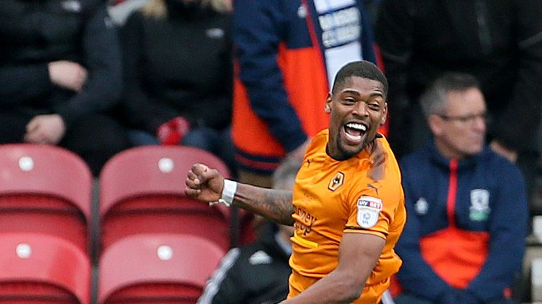 Wolverhampton Wanderers' Ivan Cavaleiro celebrates scoring his side's second goal of the game during the Sky Bet Championship match against Middlesbrough at the Riverside Stadium