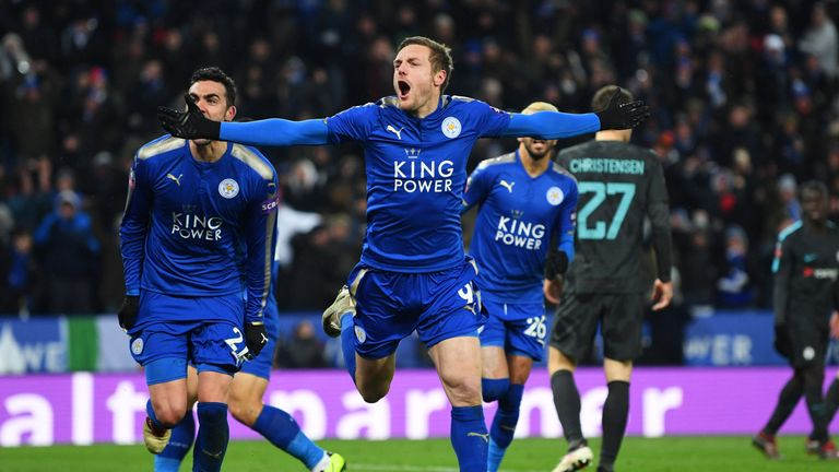 Jamie Vardy scored the equalising goal for Leicester on Sunday