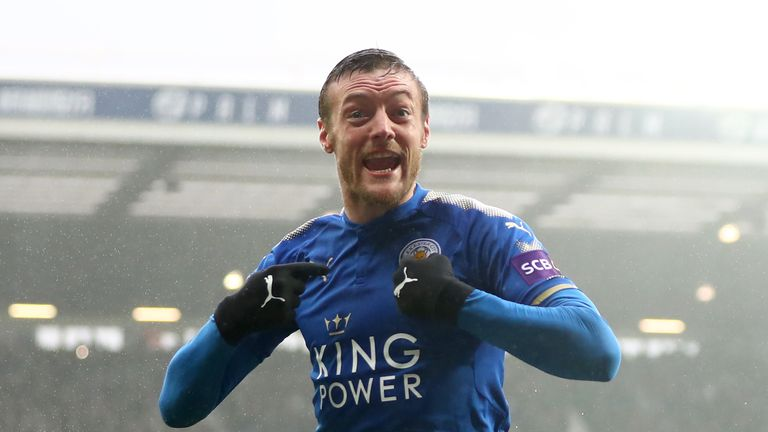 Jamie Vardy celebrates another goal at the Hawthorns
