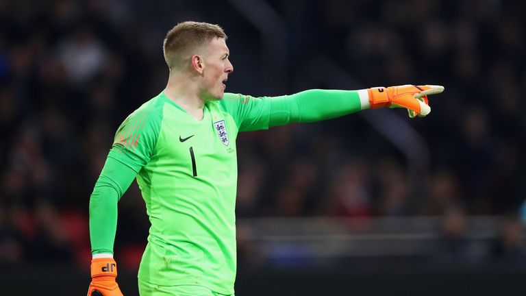 Jordan Pickford in action for England against the Netherlands