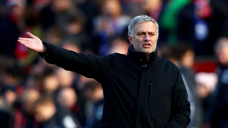 Mourinho during the Premier League match between Manchester United and Chelsea at Old Trafford on February 25, 2018