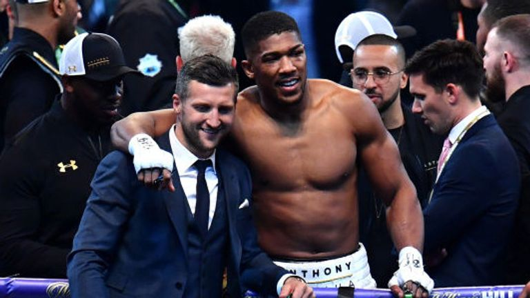Anthony Joshua celebrates with Carl Froch after victory over Wladimir Klitschko in the IBF and WBA Heavyweight World Title bout at Wembley Stadium on April 29, 2017 in London, England.  (Photo by Dan Mullan/Getty Images)