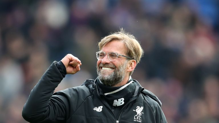 Jurgen Klopp celebrates the 2-1 away win over Crystal Palace at Selhurst Park