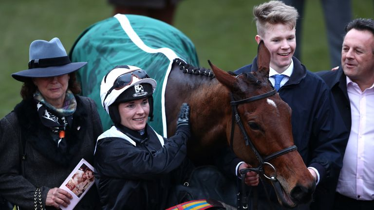 Katie Walsh with Relegate after their victory in the Champion Bumper at Cheltenham