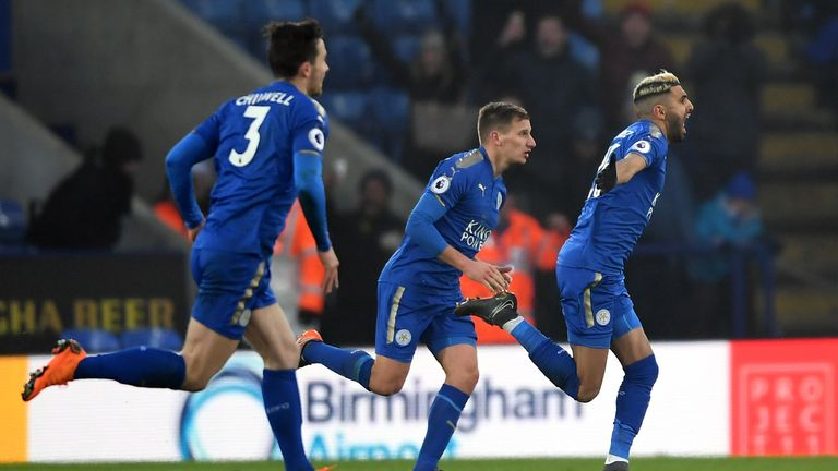 during the Premier League match between Leicester City and AFC Bournemouth at The King Power Stadium on March 3, 2018 in Leicester, England.