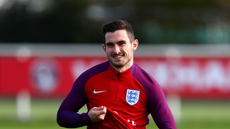 Lewis Cook during an England training session ahead of the International Friendly match between England and Brazil on November 13, 2017 in Enfield, England.