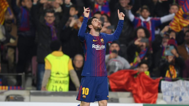Messi celebrates his second-minute opener against Chelsea