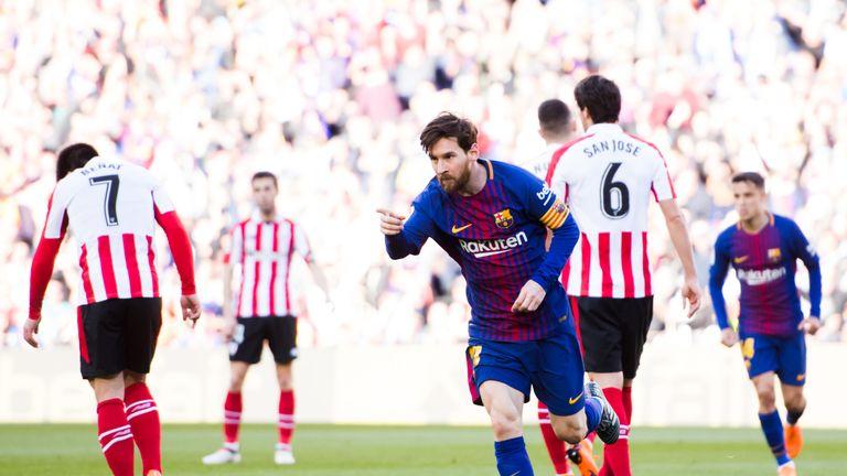 Lionel Messi celebrates scoring against Athletic Bilbao