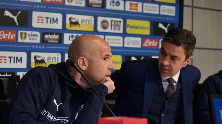 Italy's interim head coach Luigi Di Biagio (L) and FIGC Vice Commissioner Alessandro Costacurta