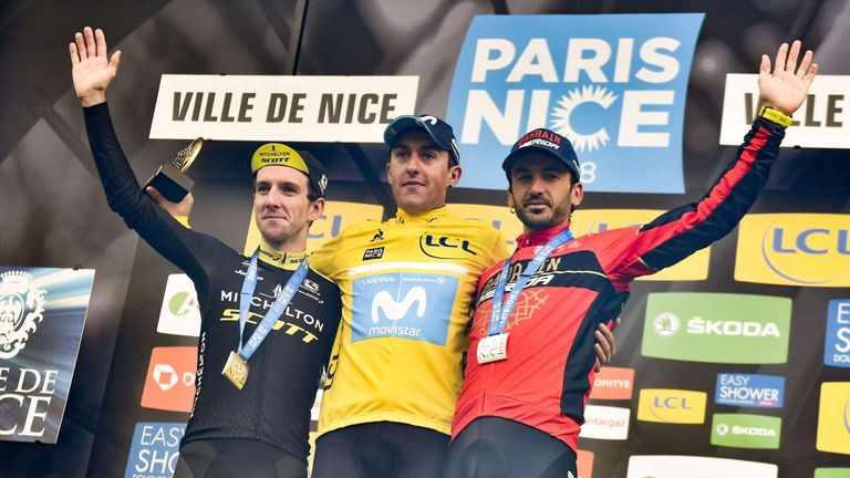 Paris-Nice winner Spain's Marc Soler (C), second-placed Great Britain's Simon Yates (L) and third-placed Spain's Gorka Izagirre celebrate on the podium
