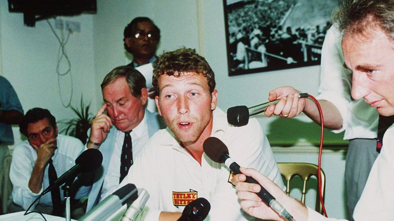 Atherton faces the press during England's first Test against South Africa at Lord's