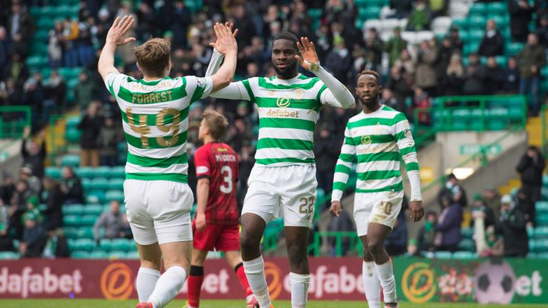 Celtic's Odsonne Edouard (centre) celebrates his goal with James Forrest