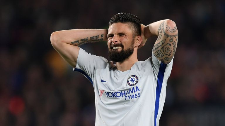 Olivier Giroud signed for Chelsea from Arsenal for £18million in January