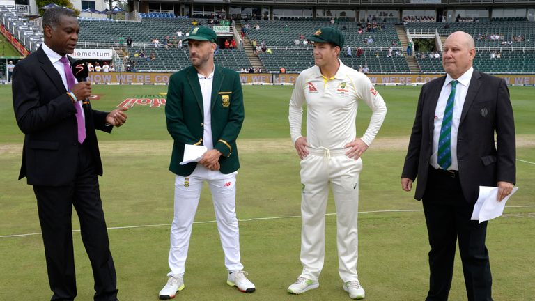 Tim Paine and Faf du Plessis get ready for the final Test in Johannesburg