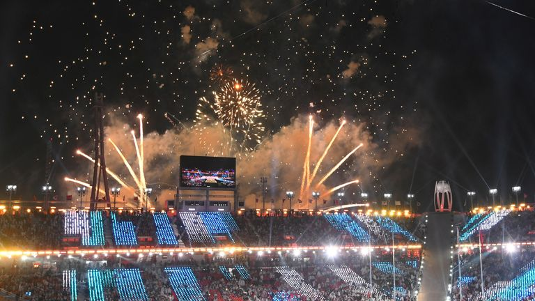 Fireworks light up the sky at the closing ceremony