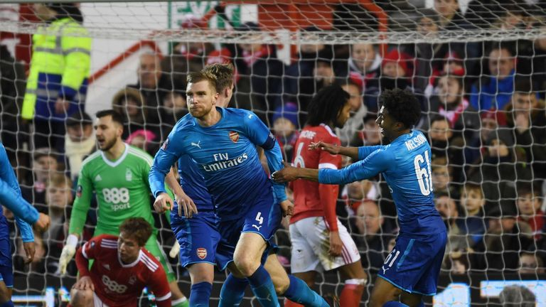 NOTTINGHAM, ENGLAND - JANUARY 07: of Arsenal during the FA Cup 3rd Round match between Nottingham Forest and Arsenal at City Ground on January 7, 2018 in Nottingham, England. (Photo by Stuart MacFarlane/Arsenal FC via Getty Images)