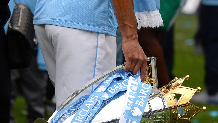 The sky-blue ribbon will adorn the Premier League trophy for a third time following Manchester City's emphatic triumph
