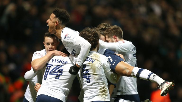"Preston North End's Alan Browne (hidden) celebrates scoring his side's first goal of the game during the Sky Bet Championship match at Deepdale, Preston. PRESS ASSOCIATION Photo. Picture date: Tuesday March 6, 2018. See PA story SOCCER Preston. Photo credit should read: Nigel French/PA Wire. RESTRICTIONS: EDITORIAL USE ONLY No use with unauthorised audio, video, data, fixture lists, club/league logos or ""live"" services. Online in-match use limited to 75 images, no video emulation. No use in betting, games or single club/league/player publications."