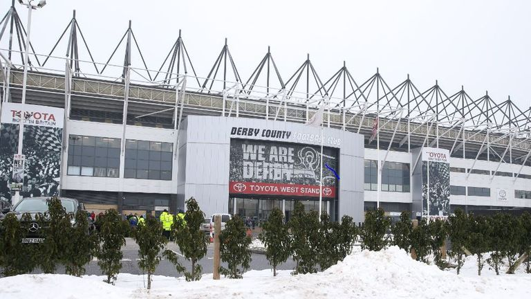 Pride Park Stadium was hampered by severe weather on Sunday