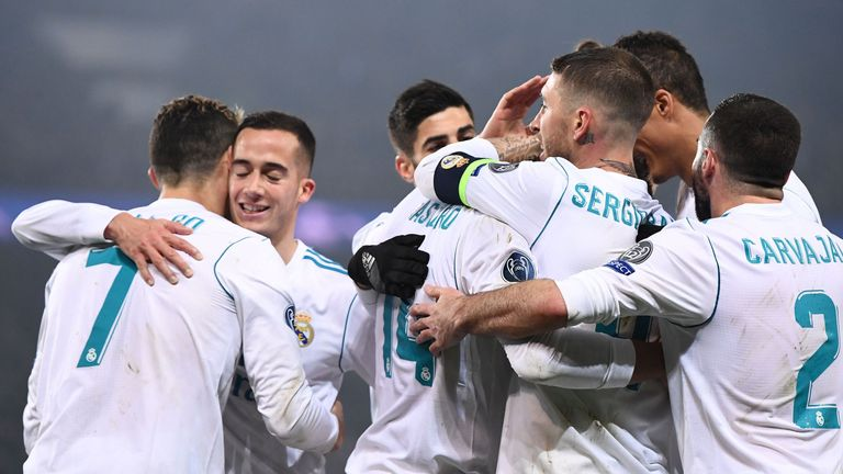 Real Madrid celebrate after knocking PSG out of Champions League