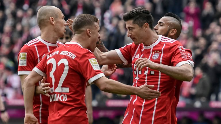 Robert Lewandowski scored a hat-trick in Bayern Munich's win
