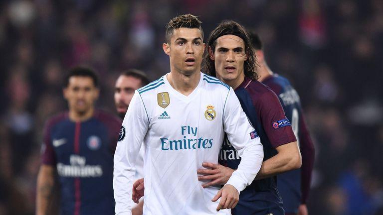 Cristiano Ronaldo and Edinson Cavani during Paris Saint-Germain v Real Madrid in Champions League last-16 second-leg tie