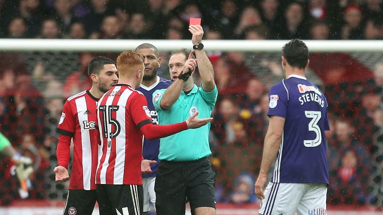 Brentford's Ryan Woods was sent off in the draw