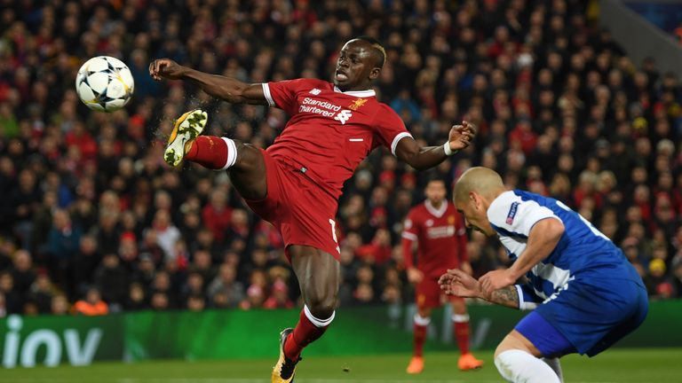 Sadio Mane during the Champions League last-16 second leg between Liverpool and FC Porto at Anfield on March 6, 2018