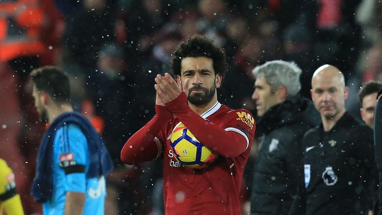 Salah has scored 28 Premier League goals since joining from Roma last summer